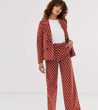 Monki heart chain print cord straight leg two-piece pants in rust