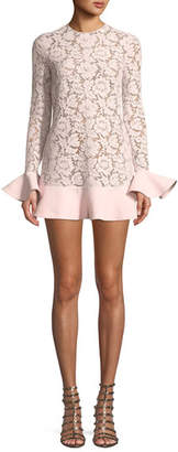 Valentino Jewel-Neck Long-Sleeve Heavy Lace Crepe Couture Dress with Ruffle Details