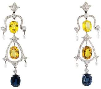 18K White Gold Diamond And Multi Colored Sapphire Chandelier Earring