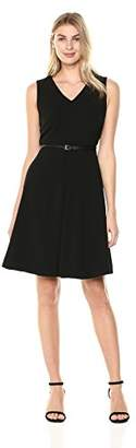 Lark & Ro Women's Belted Fit and Flare Dress