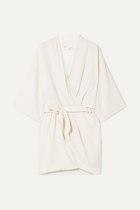 IRO Lilya Wrap-effect Linen And Silk-blend Mini Dress - Off-white