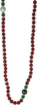 Kenneth Jay Lane 66 INCH RUBY BEAD NECKLACE WITH PEARL STATIONS