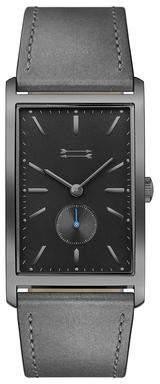 Uri Minkoff Pesaro Gunmetal Tone Leather Watch, 27MM X 45.5MM