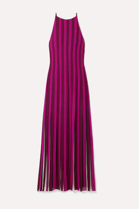 MICHAEL Michael Kors Pleated Striped Crepe Maxi Dress - Magenta