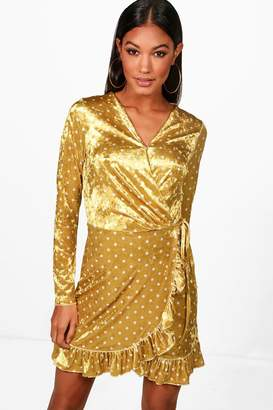 boohoo Velvet Spot Ruffle Tea Dress
