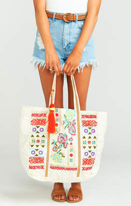 Show Me Your Mumu All Mine Tote Bag with Tassel ~ White