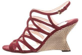 Prada Caged Wedge Sandals
