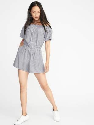 Old Navy Waist-Defined Tiered-Sleeve Romper for Women