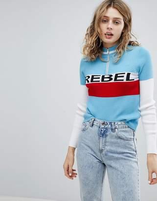 Asos Design Zip Jumper with Rebel Slogan