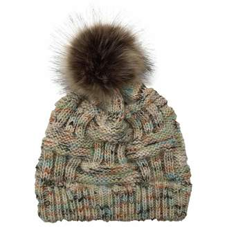 3e888ef9946 Theshy-hat Theshy Women Stitching Outdoor Faux Fur Ball Hats Crochet Knit  Multicolor Beanie Cap
