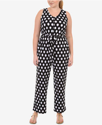 NY Collection Plus Size Polka Dot-Print Jumpsuit