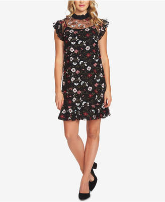 CeCe Embroidered Sheer Mesh Sheath Dress