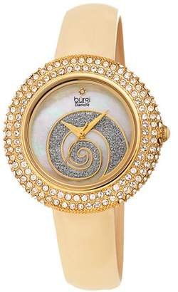 Burgi Gold Tone Dress Quartz Watch With Leather Strap [BUR209GN]