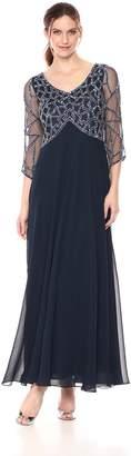 J Kara Women's 3/4 Sleeve Geo Beaded Gown