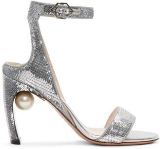 Nicholas Kirkwood Silver Sequin Lola Pearl Sandals