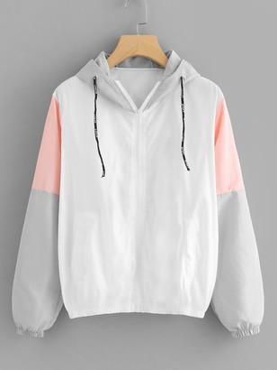 Shein Color Block Drawstring Zip Up Jacket