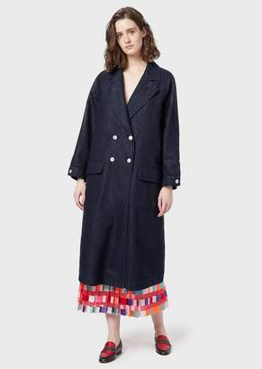 Emporio Armani Double-Breasted Denim Overcoat With Faux Fur Internal Waistcoat