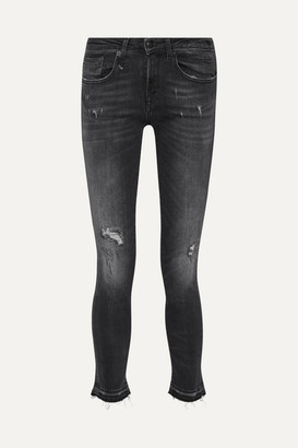 R 13 Alison Distressed Low-rise Skinny Jeans - Charcoal