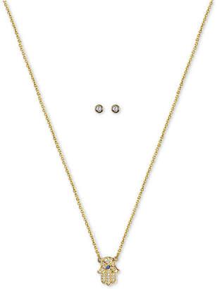 "Kitsch Gold-Tone Crystal Hamsa Hand Pendant Necklace & Stud Earrings Box Set, 18"" + 1"" extender"
