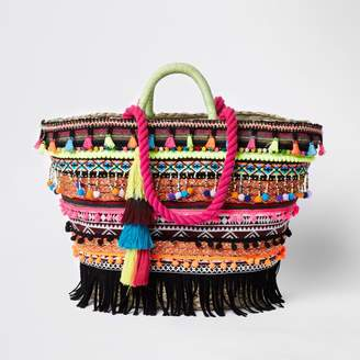 River Island Womens Pink tassel woven basket shopper bag