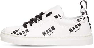 MSGM Logo Printed Faux Leather Sneakers