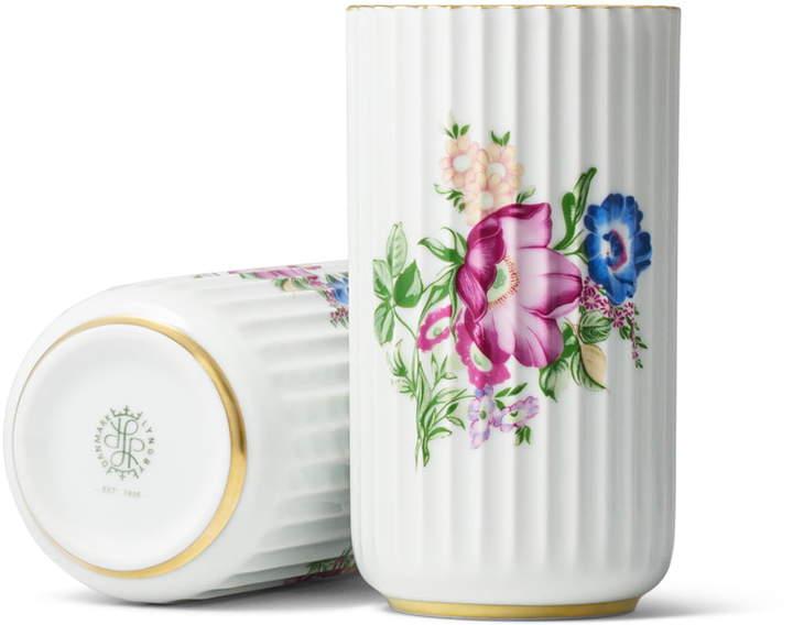 Lyngby Porcelæn - Lyngbyvase mit Blumendekor, H 15 cm