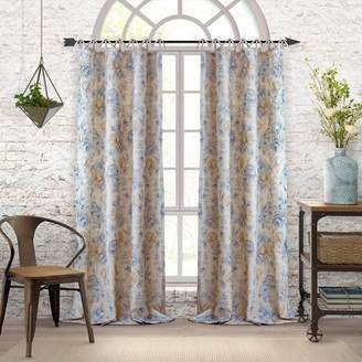 Elrene Home Fashions Annalise Floral Linen Tie Top Window Curtain