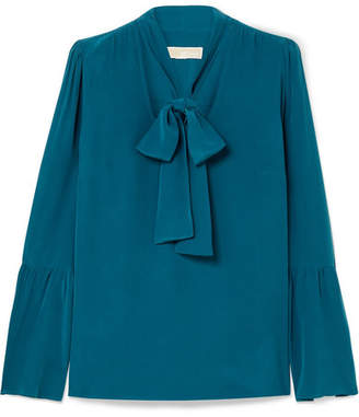 MICHAEL Michael Kors Pussy-bow Silk-crepe Blouse - Teal