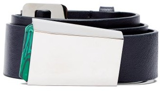 Gabriela Hearst Car Buckle Leather Belt - Womens - Navy