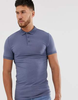 Asos Design DESIGN muscle fit with stretch jersey polo in grey