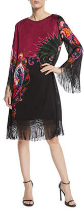 Etro Paisley Knit Fringed Bell-Sleeve Shift Dress