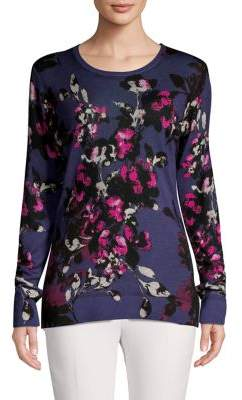 Lord & Taylor Floral Merino Wool Sweater