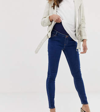970b1e6ad5975 Asos DESIGN Maternity Ridley high waist skinny jeans in rich mid blue wash  with over the