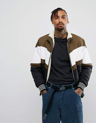 Asos Borg Lined Track Jacket In Colour Block