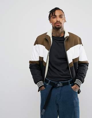 Asos Fleece Lined Track Jacket in Color Block