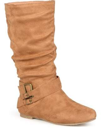 Brinley Co. Womens Buckle Mid-Calf Slouch Boot