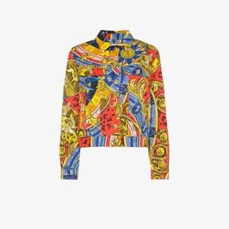 Moschino Roman scarf print denim jacket