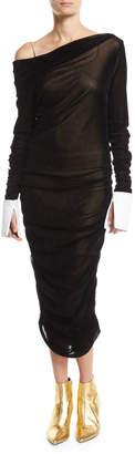 Anais Jourden Ruched Off-Shoulder Velvet Midi Dress