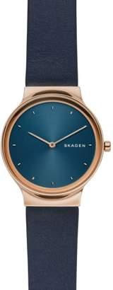 Skagen Freja Leather Strap Watch, 34mm