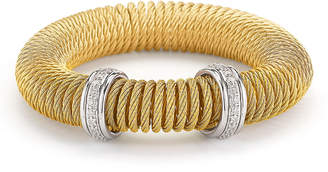Alor Micro-Cable Pave Diamond Spring Coil Bracelet Yellow 0.33tcw