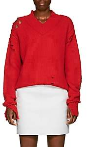Helmut Lang Women's Distressed Wool V-Neck Sweater - Red
