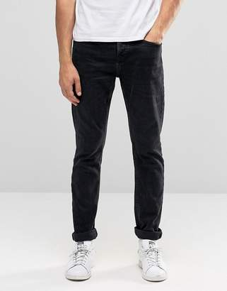 Pull&Bear Slim Fit Jeans In Washed Black