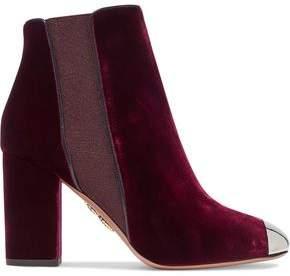 Aquazzura Nova Embellished Velvet Ankle Boots