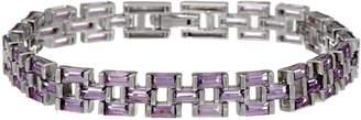 """Baguette Gemstone Panther Link Sterling 6-3/4"""" Bracelet"""