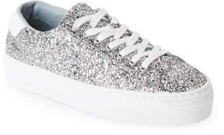 Chiara Ferragni Silver Logomania Glitter Platform Sneakers