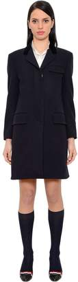 Thom Browne Wool Chesterfield Coat W/ Velvet Collar