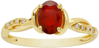 FINE JEWELRY Womens Genuine Red Ruby 10K Gold Cocktail Ring