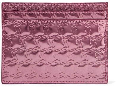 Christian Louboutin Christian Louboutin - Kios Embossed Metallic Leather Cardholder - Pink