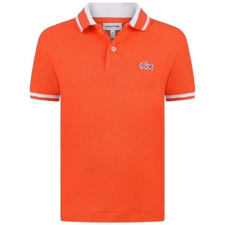 LacosteBoys Orange & White Polo Top