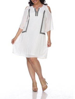 White Mark Women's Plus Size Cold Shoulder Short Dress